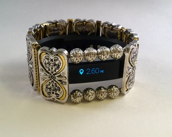 Fitbit Luxe Cover Bracelet: Brighton Beach Accented in Gold with Window and optional Heart Earrings