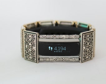 FitBit Luxe Band Cover: Simple Silver & Gold Celtic with Window