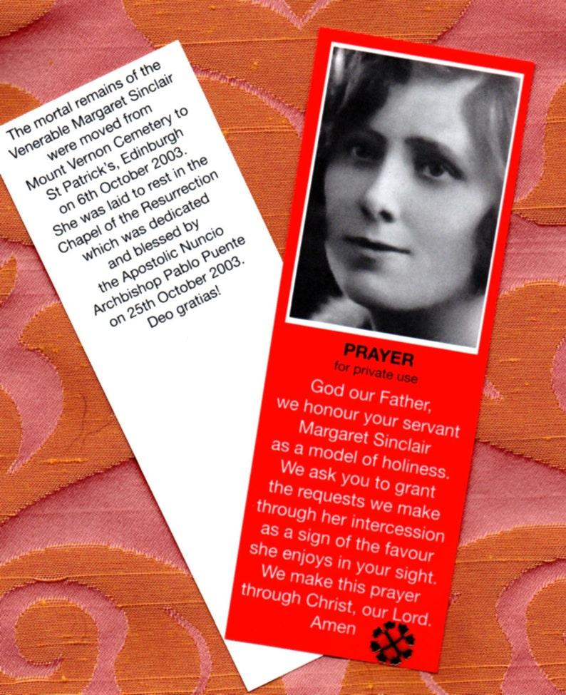 VENERABLE MARGARET SINCLAIR Scottish Poor Clare Lay Sister Relic Card