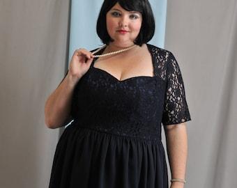 "Size AU20 ""Madison Avenue"" plus size dress, cocktail dress, mother of bride dress, sweetheart neckline, navy lace/georgette dress."