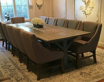 refurbished dining table chalk paint rustic trestle base table farmhouse xbase dining table reclaimed wood reclaimed wood dining table etsy