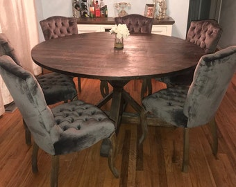 Rustic Round Pedestal Base Table, Round Kitchen Table, Round Dining Table  (Reclaimed Wood)