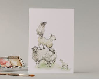 Sheep stack: Hand Drawn Card // watercolour illustration // for animal lovers // farm // large card // greetings card // new