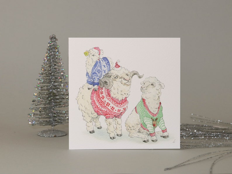 6dfbb72faba80e Winter Woolies    Sheep in Christmas jumpers greetings card