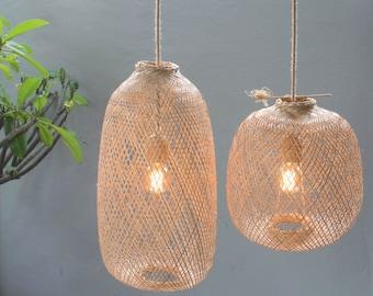 Bamboo Pendant Light - Handmade Wooden Pendant Lamp Hanging Repurposed Fishing Trap Basket, Hanging Natural Woven E27 Boho Rustic Lamp World