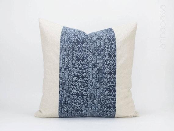 Vintage Hmong Indigo Pillow Batik Throw Pillow Cover Etsy Best Throw Pillow Covers Etsy