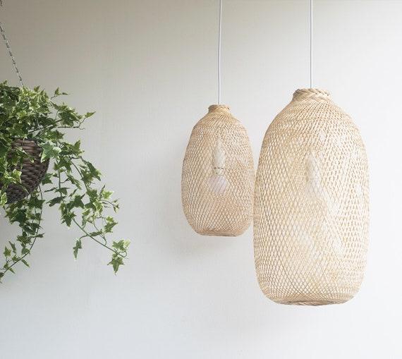 Bambus-Pendelleuchte handgefertigte Holzanhänger Hängelampe | Etsy