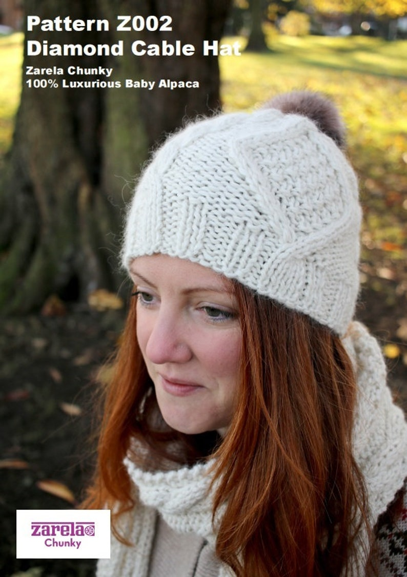 599fe00664f Zarela Chunky Diamond Cable Hat Z002 Adult and Child Knit in