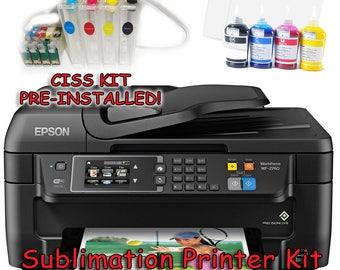 Epson WF-2760 Sublimation Printer Bundle with CISS Kit, Sublimation Ink & Paper