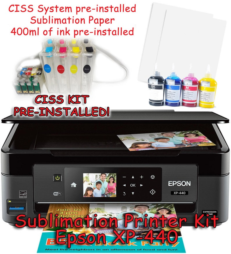 Epson XP-446 CHIPLESS Sublimation Printer Bundle with CISS Kit, Sublimation  Ink & Paper