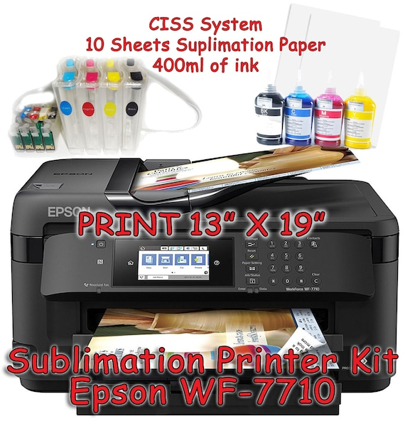 Epson Wf 7710 Sublimation Printer Bundle With Ciss Kit Etsy