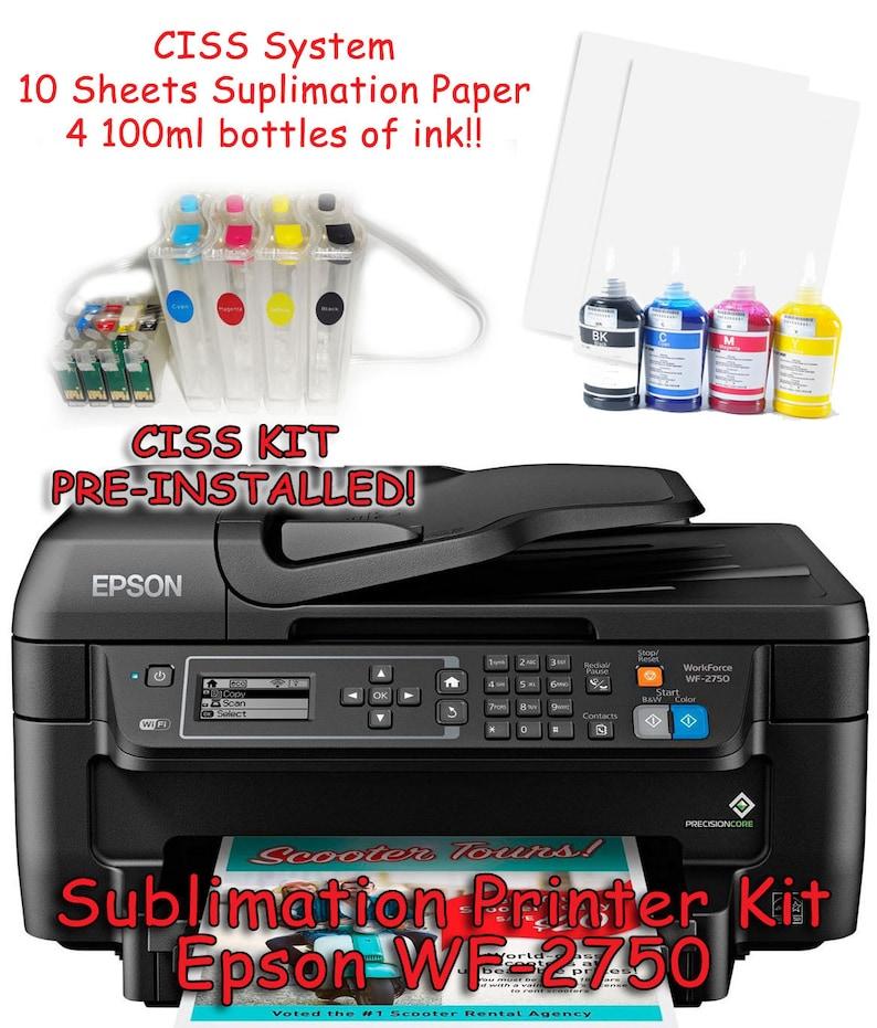 Epson WF-2750 Sublimation Printer Bundle with CISS Kit, Sublimation Ink &  Paper