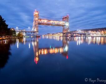 12x24 Metal Print,Portage Lake Lift Bridge Light Show, Houghton, MI