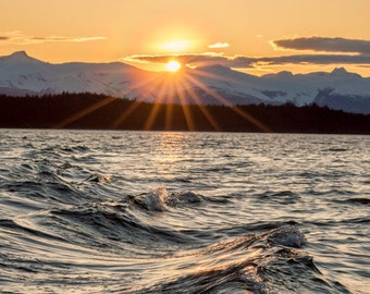 10x14 Metal Print, Sunset over the Chilkat Mountain Range, Juneau, Alaska