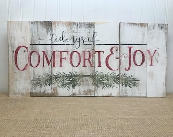 comfort joy rustic pallet wall art christmas pallet sign rustic holiday decor rustic holiday sign christmas decor - Christmas Pallet Signs
