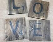 Rustic Pallet Art - Scrabble LOVE Letters - Gifts for Her - Valentine's Day Gifts - Gifts for Scrabble Lovers - 4x4x5 each - set of 4