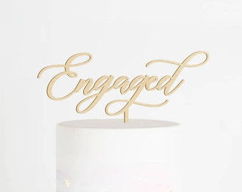Engaged Cake Topper, Engagement Cake Topper, We're Engaged Cake Topper, Engagement Party Decor, Bridal Shower Cake Topper, Engaged