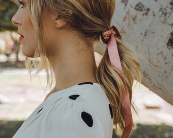 Buy 3 Get 1 Free  Romantic Leather Ribbon Hair Tie Accessory - Wrap or Tie  in Bow (Vegan Metallic) Easter Mother s Day Gift 629203766db