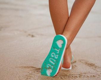 2c3dd21aa10d Just Married Imprint Honeymoon   Beach Wedding Flip Flops Slippers Stamp In  Sand Mother s Day Gift
