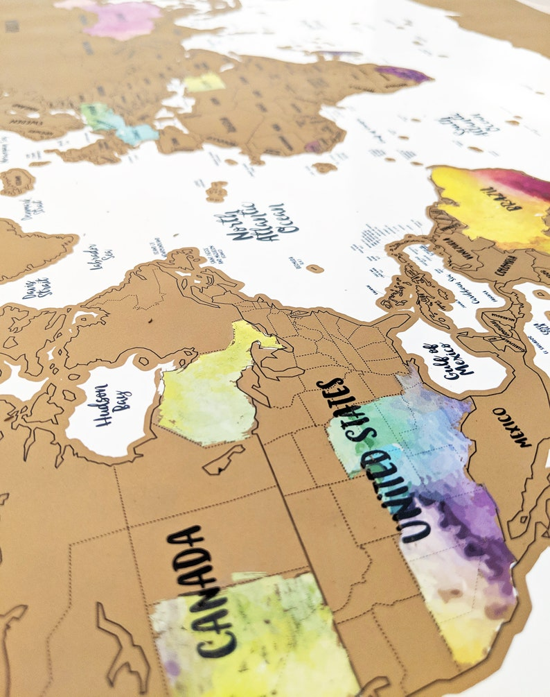 Scratch Your Travels® WORLD MAP w/ US, Canadian & Australian State Outlines  Watercolor World Map Dorm Decor