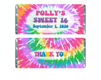 Personalized and Printed Hershey Bar Labels Rainbow Mandala Candy Wrapper for Chocolate Bar Favors