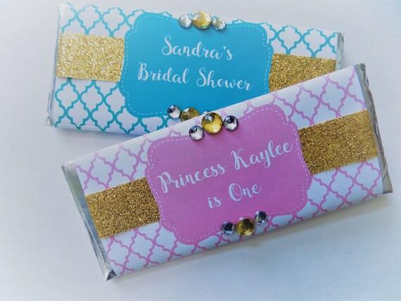 sparkly gold glitter candy bar wrapper favors with hershey bar bridal shower favor preppy favor glitter