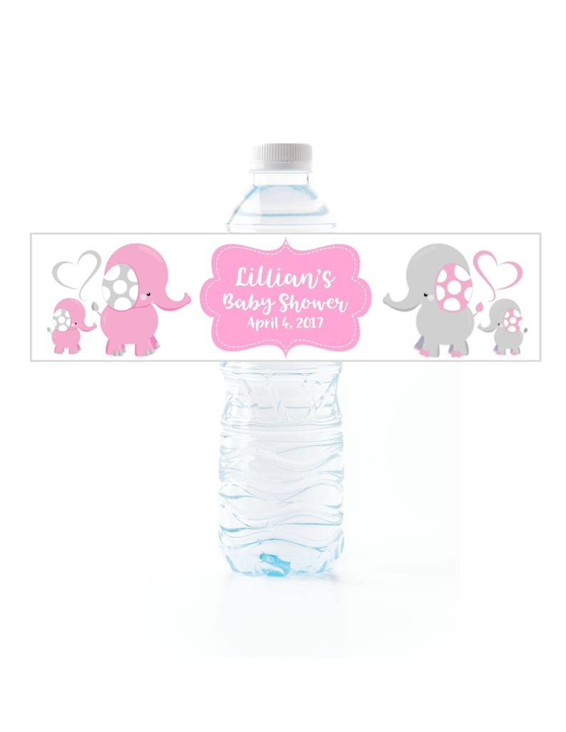 Elephant Baby Shower Water Bottle Labels, peel and stick waterproof labels,  Set of 25