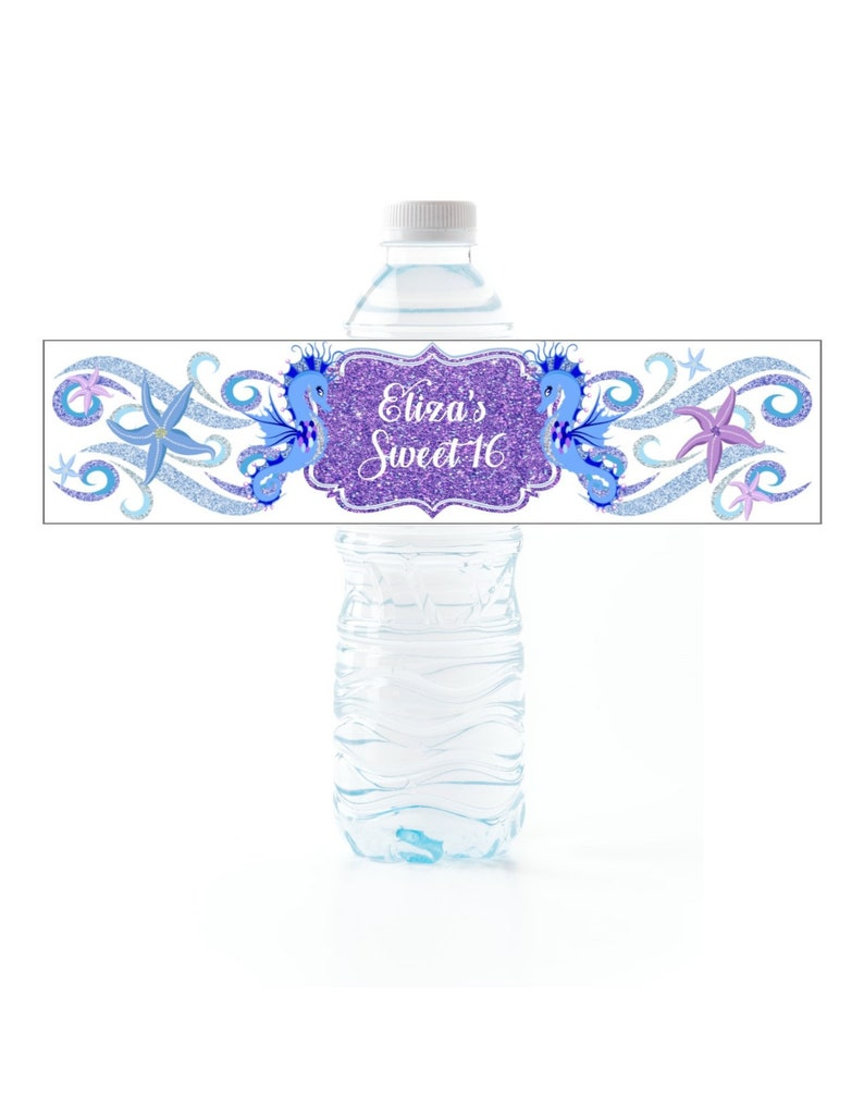 Starfish Water Bottle Labels, peel and stick waterproof labels, Set of 25