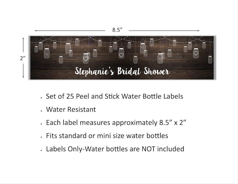 Bridal Shower Birthday Wedding Rustic Mason Jar Personalized Water Bottle Labels Peel and Stick Waterproof Water Bottle Wrappers