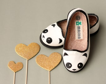 Leather Flats - Panda Face