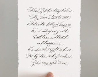 Kitchen Prayer - Calligraphy Print on textured paper // Multiple sizes available