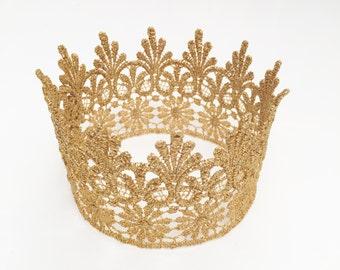 Medium Gold Lace Crown - Photo Prop Cake Topper