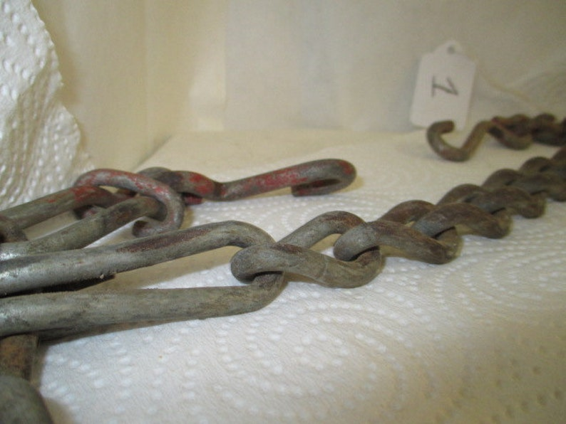 vtg rusty old chain & hooks, about 70 inch long each strand weighs about 8  lb 2 oz industrial steampunk, vtg repurpose, upscale metal supply