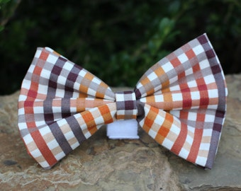Fall Dog Bow Tie, Plaid Dog Bow Tie, Brown Dog Bow Tie, Stripe Dog Bow Tie, Autumn Dog Bow Tie, Halloween Dog Bow Tie, Dog Bow Tie