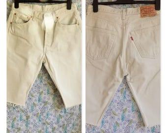 8496f660d88 Unisex cream levi 501 shorts cut off cream denim long shorts womens shorts  mens shorts waist size