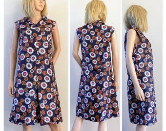50s/60s sleeveless shirt dress vintage French mod floral flower power dress size small