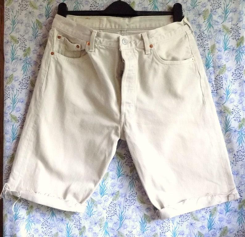 44f401498fb Cream levi 501 long shorts unisex mens womens cut off levi | Etsy