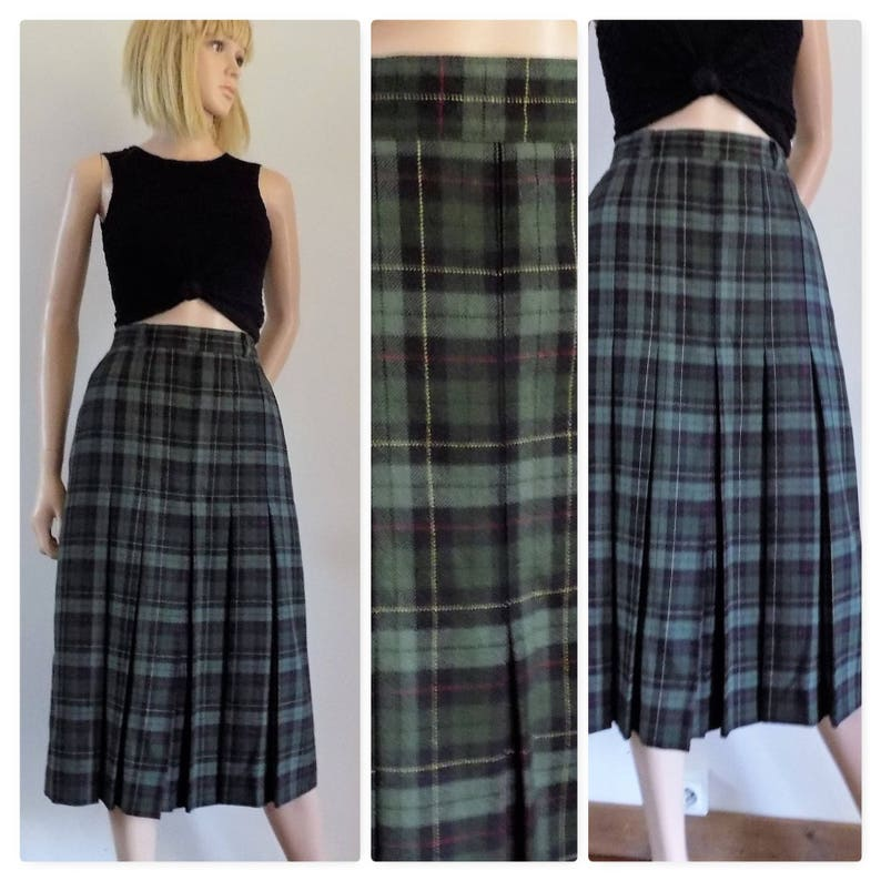 207593361 Green plaid pleated midi skirt womans wool lucia kilt skirt | Etsy