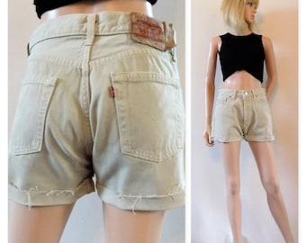Cream Levi 501 denim shorts vintage cut off jean shorts womens shorts waist 29 inches/74cms
