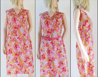 50s/60s red pink flower power dress hand made silky French retro dress size M