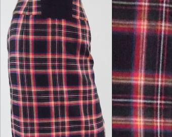 "Vintage red tartan plaid pencil skirt secretary skirt preppy skirt minimalist skirt waist size 28"""