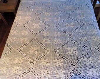 Grand crochet crème couvre-lit couverture Français vintage belle fabriqués à la main recouvre le couvre-lit jet