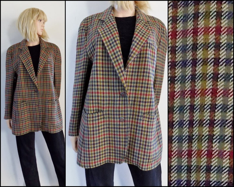 a8fdd9a0f Womans oversized plaid jacket blazer uk14 usa12 brown check wool jacket  size medium