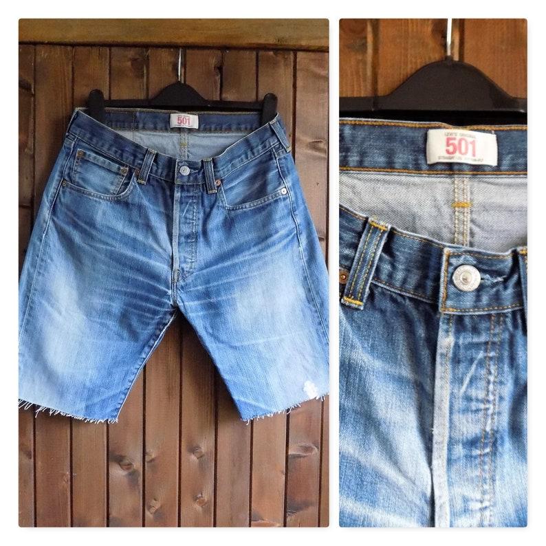 6dd6554dcd8 Mens cut off Levi shorts Levi 501 long shorts unisex levi | Etsy