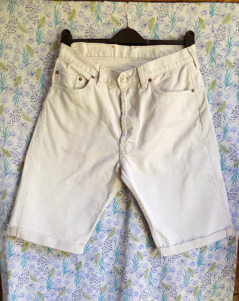 b83b266eb9f Mens unisex cream denim shorts Levi 501 shorts cream denim | Etsy