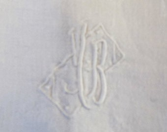 Vintage white French linen napkins JB or YB initials damask linen tablecloth and 12 napkins