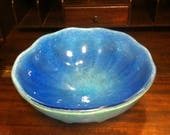 Vintage Early 1900 39 s Unsigned Arts Nouveau Art Deco Hand Blown Marine Blue Murano Art Glass Bowl