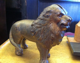 Vintage Novelty Cast Iron and Gilded Lion Bank