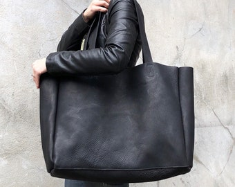 "787fc2b7e153 Extra large black leather tote bag 24""x 15"""