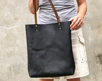 Tall Leather tote bag Travel leather bag Leather Shopper bag Handmade leather  bag Classic Leather tote purse Black Leather bag with pockets